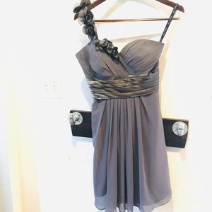Gray one-shoulder formal dress
